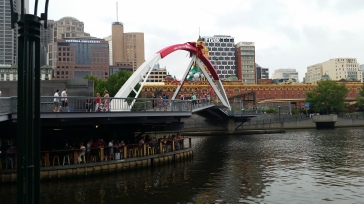This bridge connects the two sides of Melbourne - so easy to cross the river walking!