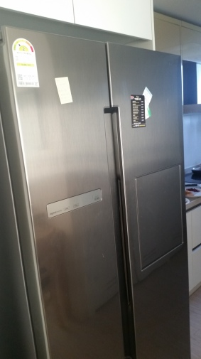 We get a real full sized fridge! So exciting. Now all we want to do is fill it with food.