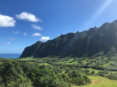 Inside Kualoa Ranch. They have all sorts of tours - we did the one where they take you around all their movie locations/sets. The views are simply stunning.